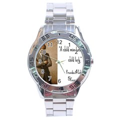 A Child is Miseducated... Stainless Steel Analogue Watch