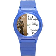 A Child is Miseducated... Round Plastic Sport Watch (S)