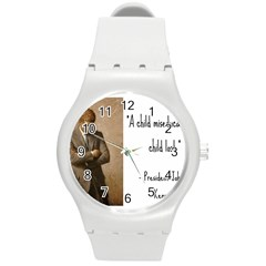 A Child is Miseducated... Round Plastic Sport Watch (M)