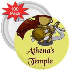 Athena s Temple 3  Buttons (100 pack)