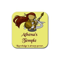 Athena s Temple Rubber Square Coaster (4 pack)