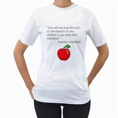 Fruit of Education Women s T-Shirt (White) (Two Sided)