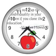 Fruit of Education Wall Clocks (Silver)