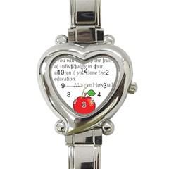 Fruit of Education Heart Italian Charm Watch