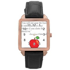 Fruit of Education Rose Gold Leather Watch
