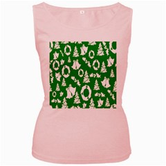 Backdrop Background Card Christmas Women s Pink Tank Top