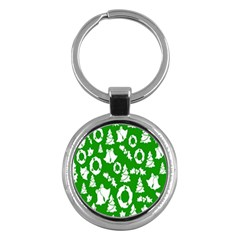 Backdrop Background Card Christmas Key Chains (Round)