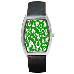 Backdrop Background Card Christmas Barrel Style Metal Watch