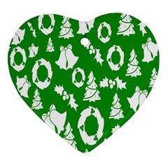 Backdrop Background Card Christmas Heart Ornament (Two Sides)