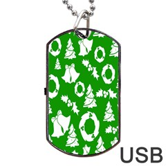 Backdrop Background Card Christmas Dog Tag USB Flash (One Side)