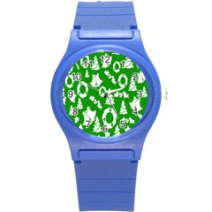 Backdrop Background Card Christmas Round Plastic Sport Watch (S)
