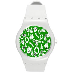 Backdrop Background Card Christmas Round Plastic Sport Watch (M)