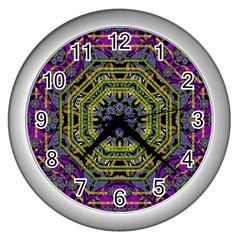 Wonderful Peace Flower Mandala Wall Clocks (Silver)