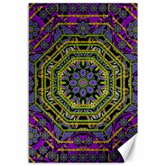 Wonderful Peace Flower Mandala Canvas 12  x 18