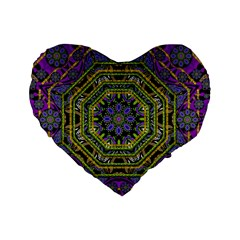 Wonderful Peace Flower Mandala Standard 16  Premium Heart Shape Cushions