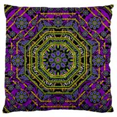 Wonderful Peace Flower Mandala Large Flano Cushion Case (One Side)