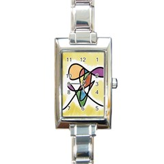 Art Abstract Exhibition Colours Rectangle Italian Charm Watch