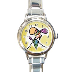 Art Abstract Exhibition Colours Round Italian Charm Watch
