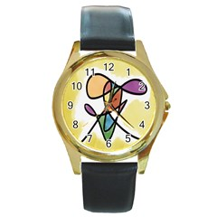 Art Abstract Exhibition Colours Round Gold Metal Watch