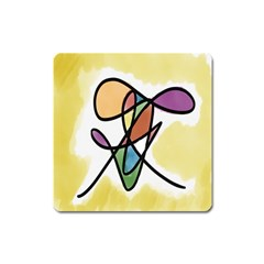 Art Abstract Exhibition Colours Square Magnet