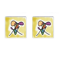 Art Abstract Exhibition Colours Cufflinks (Square)