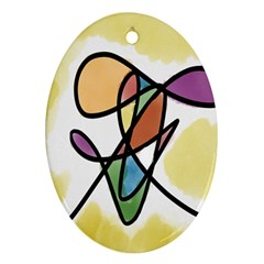 Art Abstract Exhibition Colours Oval Ornament (Two Sides)
