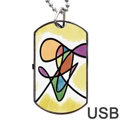 Art Abstract Exhibition Colours Dog Tag USB Flash (One Side)
