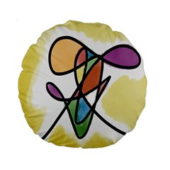 Art Abstract Exhibition Colours Standard 15  Premium Round Cushions