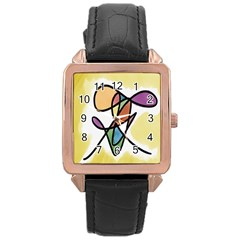 Art Abstract Exhibition Colours Rose Gold Leather Watch