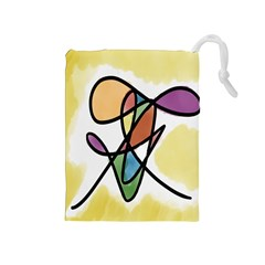 Art Abstract Exhibition Colours Drawstring Pouches (Medium)