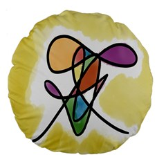 Art Abstract Exhibition Colours Large 18  Premium Flano Round Cushions