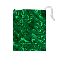 Green Pouch - Large Drawstring Pouch (Large)
