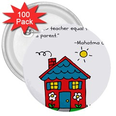 No School Greater    3  Buttons (100 Pack)