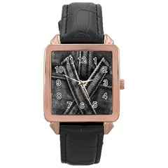 Backdrop Belt Black Casual Closeup Rose Gold Leather Watch