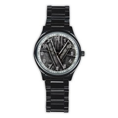 Backdrop Belt Black Casual Closeup Stainless Steel Round Watch