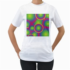 Background Colourful Circles Women s T-Shirt (White) (Two Sided)