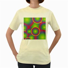 Background Colourful Circles Women s Yellow T-Shirt