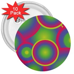 Background Colourful Circles 3  Buttons (10 pack)