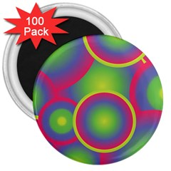Background Colourful Circles 3  Magnets (100 pack)