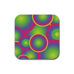 Background Colourful Circles Rubber Coaster (Square)