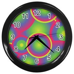 Background Colourful Circles Wall Clocks (Black)
