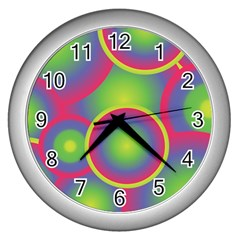 Background Colourful Circles Wall Clocks (Silver)