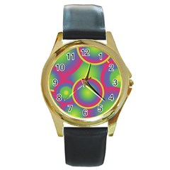 Background Colourful Circles Round Gold Metal Watch