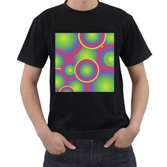 Background Colourful Circles Men s T-Shirt (Black) (Two Sided)