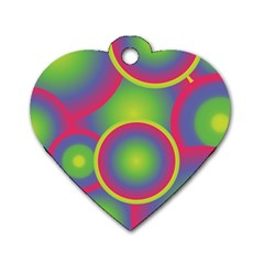 Background Colourful Circles Dog Tag Heart (Two Sides)