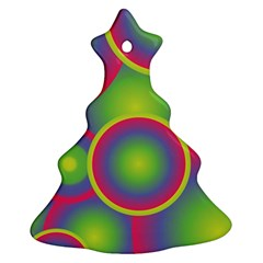 Background Colourful Circles Christmas Tree Ornament (Two Sides)