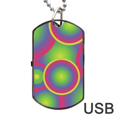 Background Colourful Circles Dog Tag USB Flash (One Side)