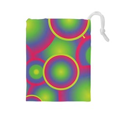 Background Colourful Circles Drawstring Pouches (Large)