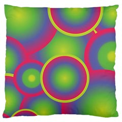 Background Colourful Circles Large Flano Cushion Case (Two Sides)