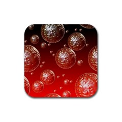 Background Red Blow Balls Deco Rubber Square Coaster (4 pack)